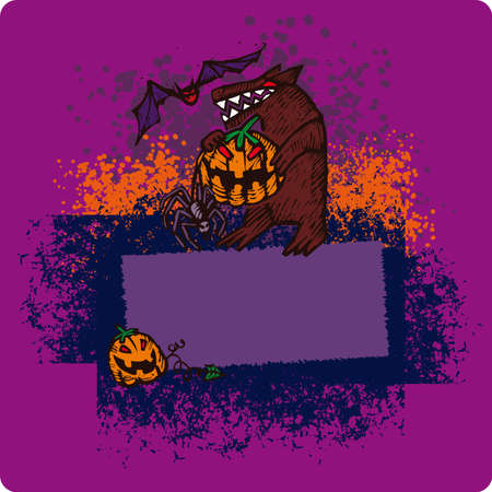 frighten: Big colorful frame with Halloween characters in engrave style