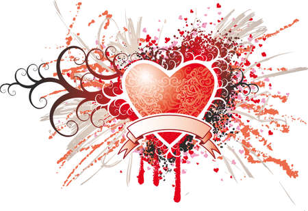 red swirl: Grande turbolenza cuore rosso con uno sfondo e schizzi di scorrimento