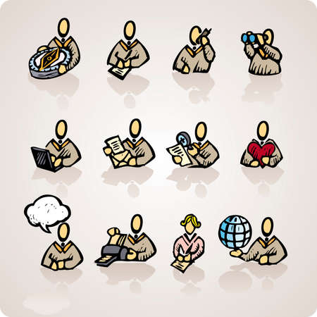 Set of rude computer users, good for webdesign, business concepts and computer icons in engrave style