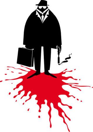 black business man: homme d'affaires noir avec pistolet fumant et porte-documents dans une mare de sang