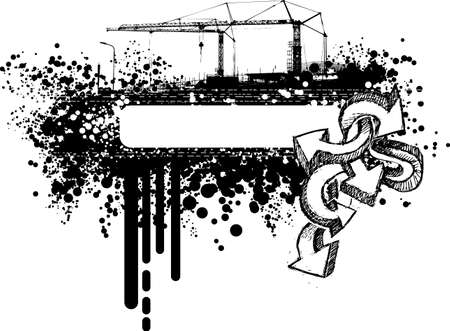 Grunge urban graphic frame with splatters, drops, stains, graffiti and cranes. Vector