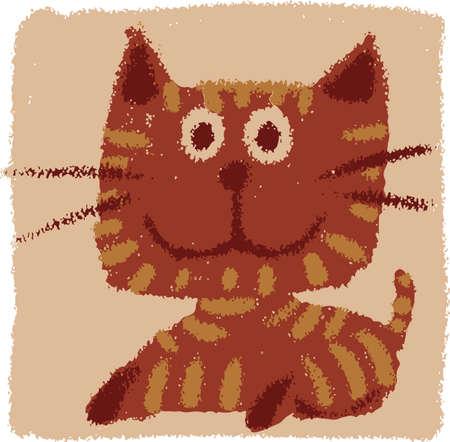 Childish and happy domestic cat Vector