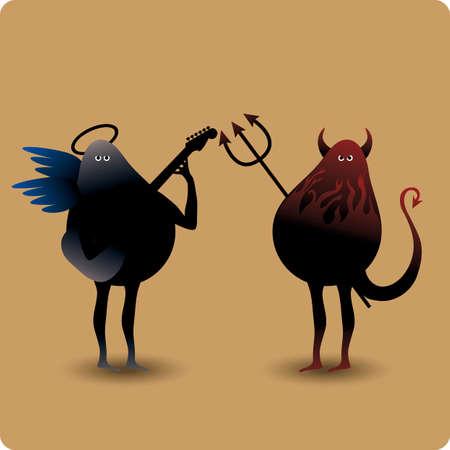 diablo y angel: Diablo con tridente y un �ngel de la m�sica con la guitarra