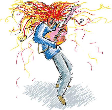 wild hair: Heavy rock con il chitarrista fiammata selvatici capelli