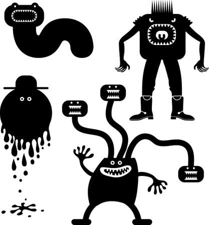 Four strange scare people, sweat, possessed, worm and hungry
