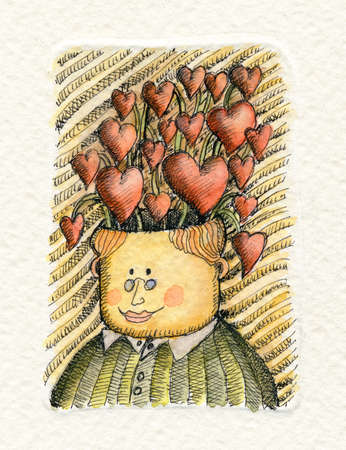 Watercolor illustration of an Intellectual man with a lot of hearts growing up from his head illustration