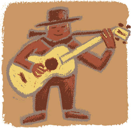 Bluesman playing his guitar in a rude old-style illustration Stock Vector - 14166448