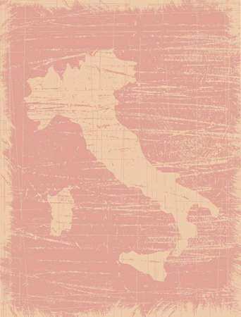 hundreds: Italy map distressed by hundreds scratches Illustration