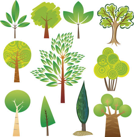 Samples of various tree species in various styles Stock Vector - 14166458