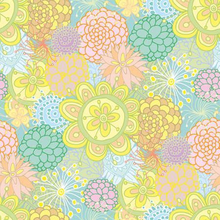 Hand drawned design seamless floral pattern made of several flowers Stock Vector - 14166461