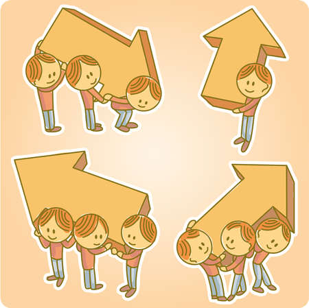 three dimensional: Little people holding and carrying big three dimensional arrow shapes