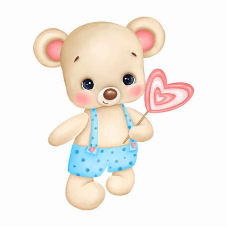 Cute teddy bear in blue overalls with a candy heart on a white background