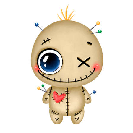 Illustration of a cute cartoon halloween smiling brown voodoo doll with a red heart and needles isolated on a white background Ilustración de vector