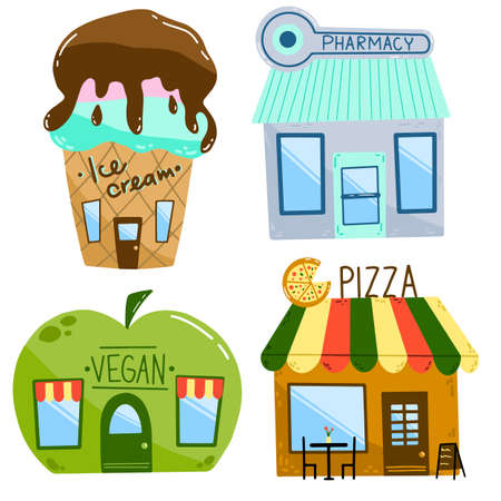Flat vector illustration of cartoon houses. Set of shops isolated on a white background. Ice cream cafe, pharmacy, vegan shop and pizzeria in a hand drawn primitive style.