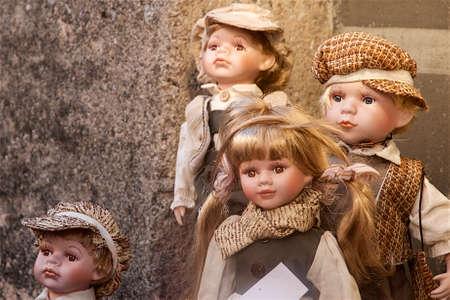 innsbruck: Porcelaine dolls in a market in Innsbruck, Austria