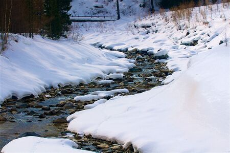 seasonable: A creek makes some curves in the snow