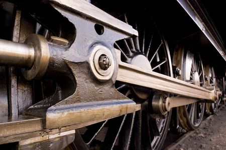 Steam locomotive wheel and coupling rods Stock Photo