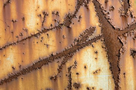 Rusty scratched metal panel photo