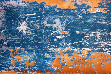 Blue and orange scratched metal background texture Stock Photo