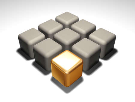 Gold 3d cube about grey cubes
