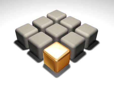Gold 3d cube about grey cubes
