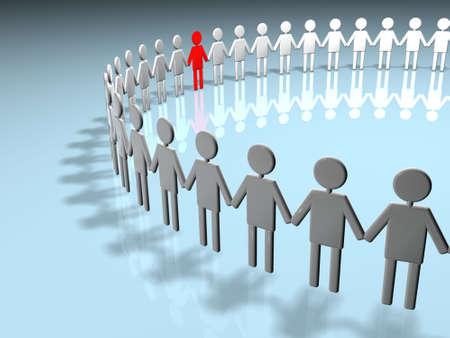 Human circle association with teamwork