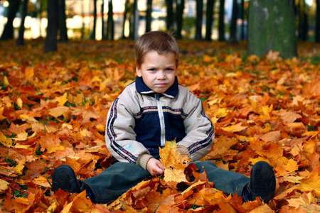Sad child sits on autumn leaves photo