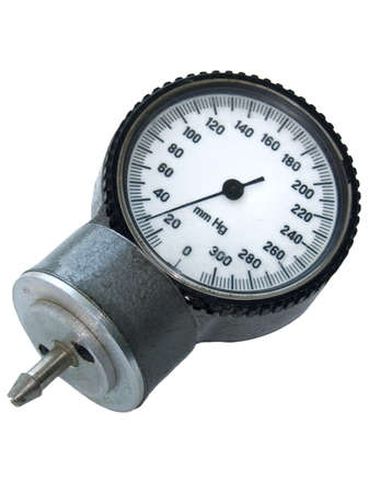 conduction: Old sphygmo manometer isolated on the white background