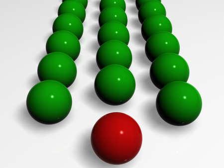 Green balls follow for Red ball-leader Standard-Bild