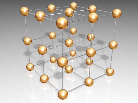 Crystal lattice consist of gold spheres and silver ties Stock Photo - 4526933