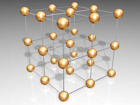 chemic: Crystal reticolo composto di sfere in oro e argento legami Archivio Fotografico