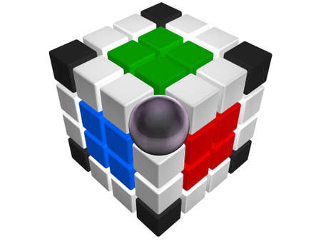 hyper: Fantastic cube consist of hyper ball and magic cubes Stock Photo