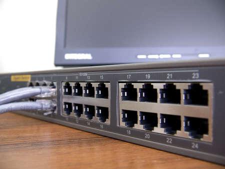 bps: Gigabit ethernet 24-ports switch Stock Photo
