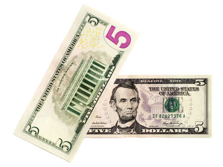 Five-dollar bills isolated on a white background
