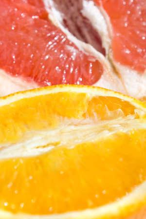 Fresh grapefruit and orange - background photo