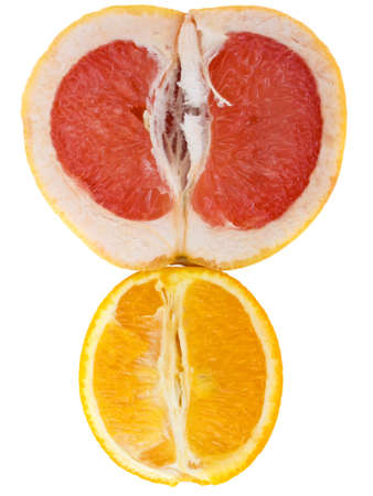 Fresh grapefruit and orange isolated on white background photo