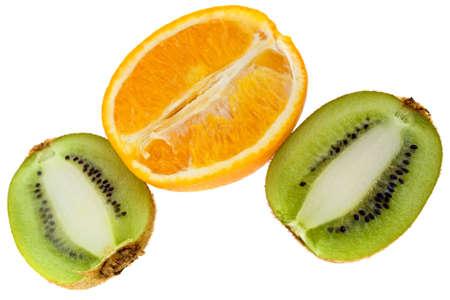 freshest: Fresh orange and kiwi isolated on white background Stock Photo