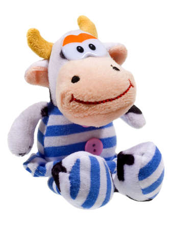 herding: Happy cow toy isolated on the white background