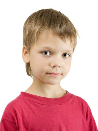 Portrait of cute boy, isolated on white background Standard-Bild