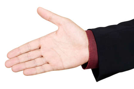 Open hand ready to seal a deal, isolated over white