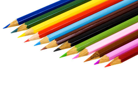 Set of color pencils isolated on a white background photo