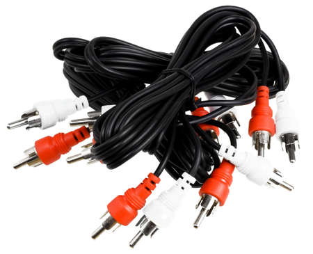 Audio connector cables, isolated over white photo