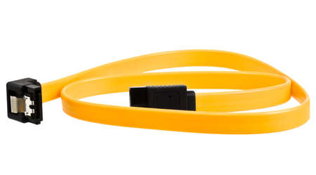 sata: Yellow computer sata cable for connect drive isolated on white background Stock Photo