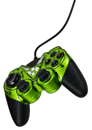 Video game controller with cord, isolated on white background