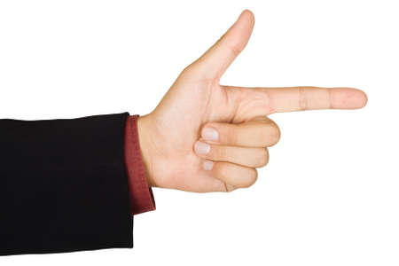 Pointing hand, isolated on a white background photo