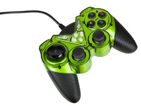 Video game controller with cord, isolated on white background photo