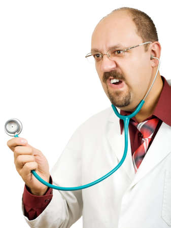 Crazy bald-headed Doctor with stethoscope isolated on white background. Grimacing funny face! Stock Photo - 6602925