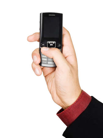 Businessmans hand holding a cell phone - isolated on white background photo