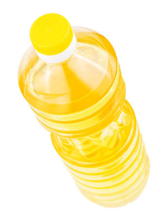 Bottle of sunflower oil isolated on a white background photo
