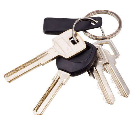 Bunch of keys with electronic key isolated on white background photo